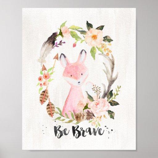 boho_chic_watercolor_fox_be_brave_wall_art re410f4574ae5430da1169dfd5648cae9_wva_8byvr_512
