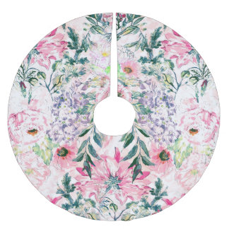 boho chic watercolor spring pink floral brushed polyester tree skirt