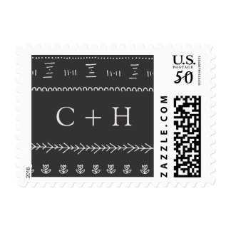 Boho Chic Wedding Monogram Postage