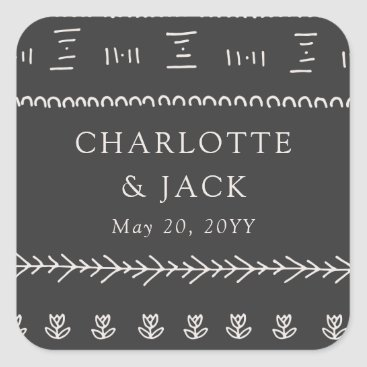 Aztec Themed Boho Chic Wedding Square Sticker