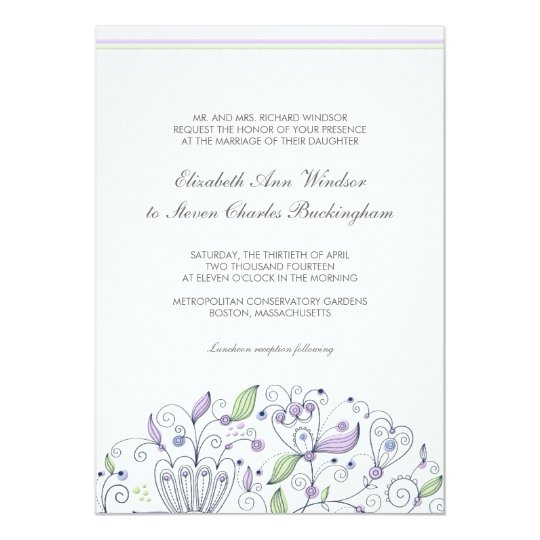 BOHO Chic Whimsical Garden Wedding Purple Card
