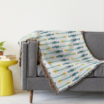 boho chic yellow blue arrows blanket