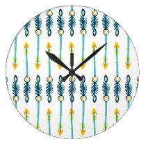 boho chic yellow blue arrows clock