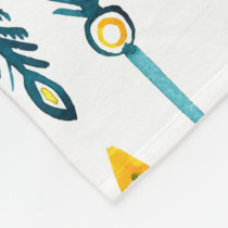 boho chic yellow blue arrows fleece blanket