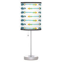 boho chic yellow blue arrows lamp