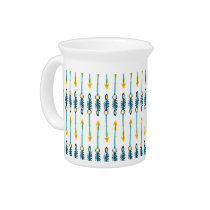boho chic yellow blue arrows pitcher