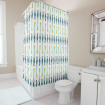 boho chic yellow blue arrows shower curtain