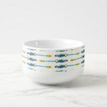 boho chic yellow blue arrows soup mug
