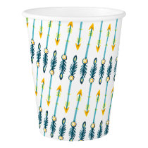 boho chic yellow blue watercolor arrows cups