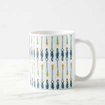 boho chic yellow blue watercolor arrows mug