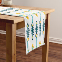 boho chic yellow blue watercolor arrows short table runner