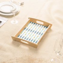 boho chic yellow blue watercolor arrows tray