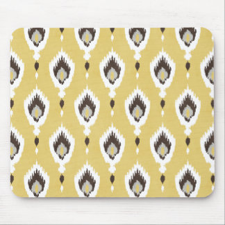 Boho chic yellow ikat tribal pattern monogram mouse pad