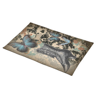 boho chicfloral butterfly vintage Victorian Shoe Cloth Placemat