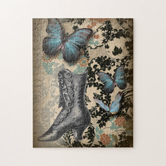 boho chicfloral butterfly vintage Victorian Shoe Jigsaw Puzzle