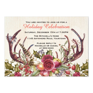 Boho Christmas Flowers and Fruit with Antlers Card