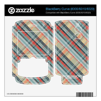 boho colorful preppy plaid pattern BlackBerry curve decals