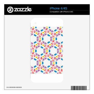 Boho Contemporary Floral Pattern Illustration Decals For The iPhone 4