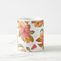 boho Coral Orange Flowers Floral Pattern Coffee Mug