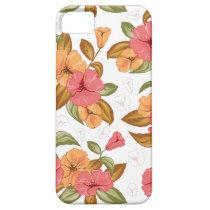 boho Coral Orange Flowers Floral Pattern iPhone SE/5/5s Case