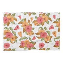 boho Coral Orange Flowers Floral Pattern Kitchen Towel