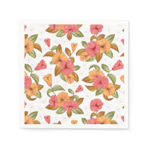 boho Coral Orange Flowers Floral Pattern Napkin