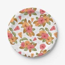 boho Coral Orange Flowers Floral Pattern Paper Plate