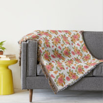 boho Coral Orange Flowers Floral Pattern Throw Blanket