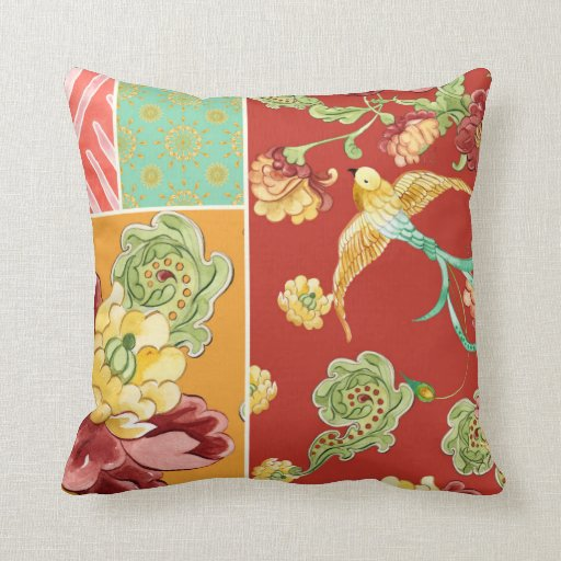 Boho Cottage Modern Bohemian Style Flower Birds Throw Pillows Zazzle