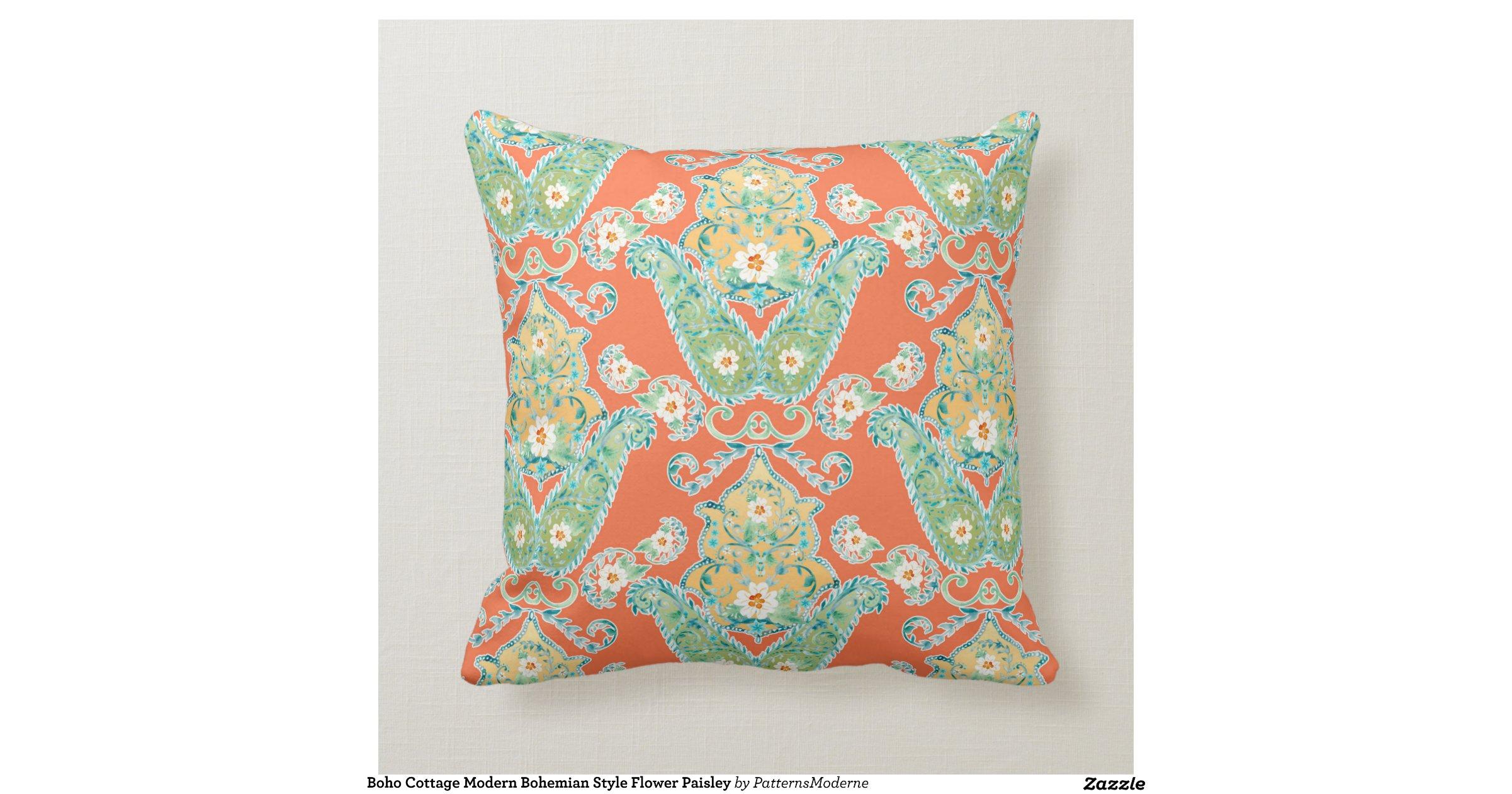 Boho Cottage Modern Bohemian Style Flower Paisley Throw Pillow Zazzle