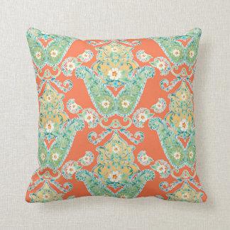 Boho Cottage Modern Bohemian Style Flower Paisley Throw Pillow