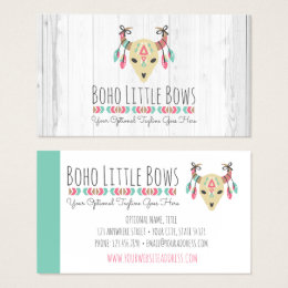 Cow skull business cards templates zazzle boho cow skull with bows cute rustic boutique business card colourmoves