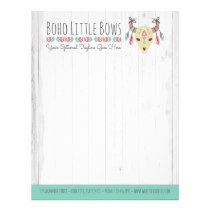 Boho Cow Skull With Bows Cute & Rustic Boutique Letterhead