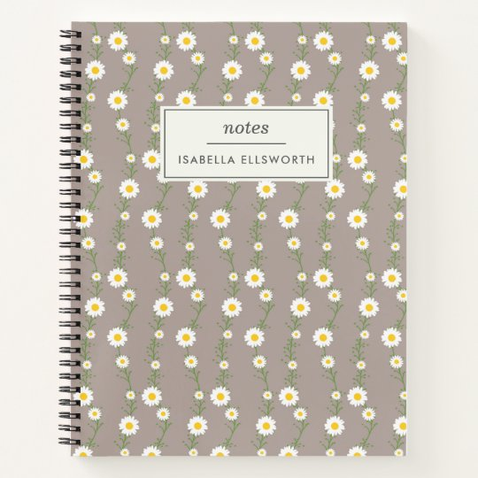 Boho Daisy Chain Floral Pattern Personalized Notebook