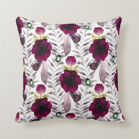 Boho Dark Purple Pink Floral Feathers Leaves Throw Pillow