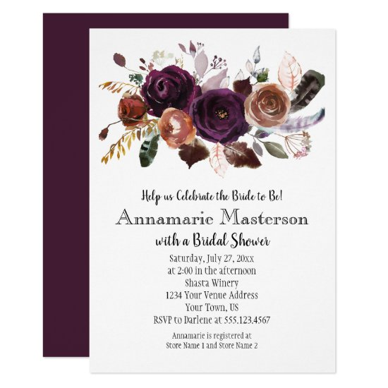 Boho Dark Purple Rust Floral Bridal Shower Invitation