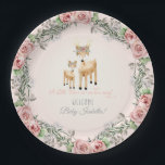 "BOHO Deer Antler Floral Rose Baby Girl Shower Art Paper Plate<br><div class=""desc"">A sweet wreath of roses, baby&#39;s breath and gray foliage surrounds this mother and baby deer with boho floral crowns and the script typography text &quot;A Little Deer is on her way!&quot; Personalize the message with your own information easily using the template fields provided. Hand watercolored by Audrey Jeanne Roberts....</div>"