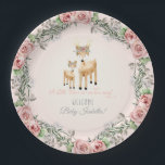 """BOHO Deer Antler Floral Rose Baby Girl Shower Art Paper Plate<br><div class=""""desc"""">A sweet wreath of roses, baby&#39;s breath and gray foliage surrounds this mother and baby deer with boho floral crowns and the script typography text &quot;A Little Deer is on her way!&quot; Personalize the message with your own information easily using the template fields provided. Hand watercolored by Audrey Jeanne Roberts....</div>"""
