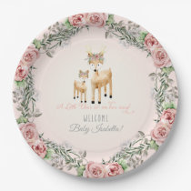 BOHO Deer Antler Floral Rose Baby Girl Shower Art Paper Plate