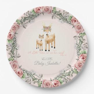 BOHO Deer Antler Floral Rose Baby Girl Shower Art Paper Plate