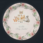 "BOHO Deer Antler Woodland Animals Baby Girl Paper Plate<br><div class=""desc"">A sweet wreath of roses, eucalyptus leaf and baby&#39;s breath surrounds this gathering of woodland animals. A mama and baby deer with boho floral crowns, a red fox and a raccoon are with them. There is a script typography text &quot;A Little Deer is on her way!&quot; Personalize the message with...</div>"