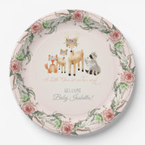 BOHO Deer Antler Woodland Animals Baby Girl Paper Plate