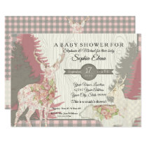 Boho Deer Bear Woodland Forest Plaid Baby Shower Card