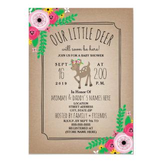 Boho Deer Floral Cardstock Inspired Baby Shower Card