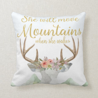 Boho Deer Move Mountains Baby Girl Nursery Pillow