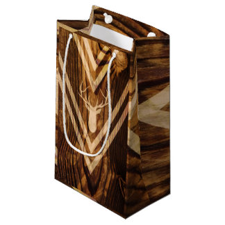 Boho deer on rustic wood small gift bag