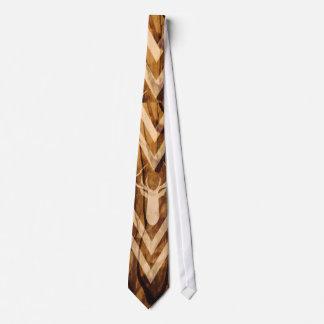 Boho deer on rustic wood neck tie