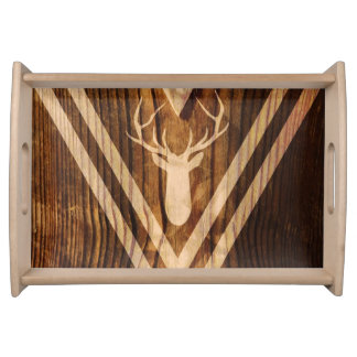 Boho deer on rustic wood serving tray