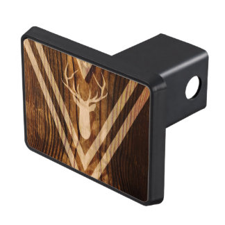 Boho deer on rustic wood tow hitch cover