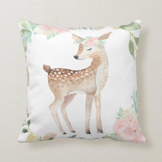Boho Deer Woodland Blush Baby Nursery Pillow